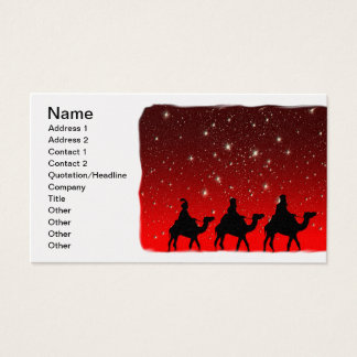 Christmas Wise Men Red Sky Star Lite Night Business Card