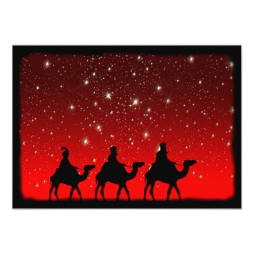 Christmas Themed Christmas Wise Men Red Sky Star Lite Night Card