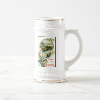 Christmas Wishes and cattle scene Beer Stein