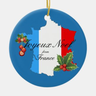 Christmas Wishes and decorations on Map of France