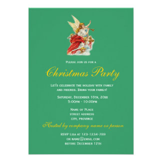 Christmas wishes angels holiday party invitations