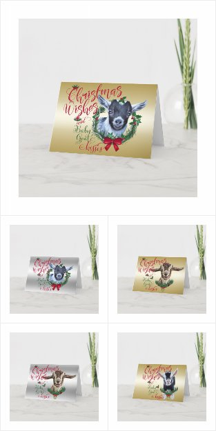 Christmas Wishes Baby Goat Kisses  Christmas Card