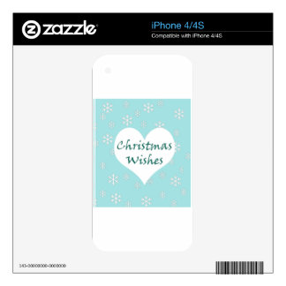 Christmas wishes blue snowflake design iPhone 4 decals