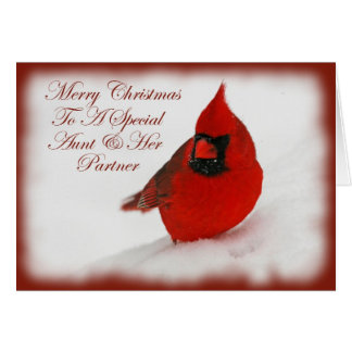 Christmas Wishes Cardinal Aunt & Partner Card