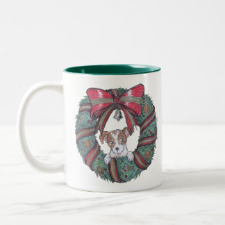 Christmas wishes from little puppy Two-Tone coffee mug