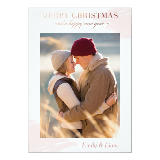 Christmas wishes - Holiday photo card - rose gold
