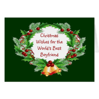 Christmas Wishes Holly Berry Wreath for Boyfriend Greeting Card