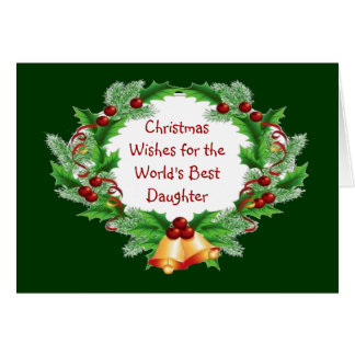 Christmas Wishes Holly Berry Wreath for Daughter Card