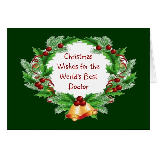 Christmas Wishes Holly Berry Wreath for Doctor Card | Zazzle