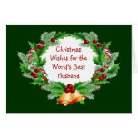 Christmas Wishes Holly Berry Wreath for Husband Greeting Cards