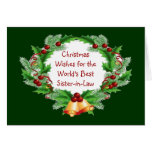 Christmas Wishes Holly Berry Wreath Sister-in-Law Cards