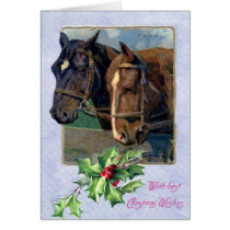 Christmas Wishes, Horses 1911 Vintage Card
