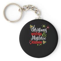Christmas Wishes Mistletoe Kisses Christmas Party Keychain