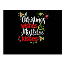 Christmas Wishes Mistletoe Kisses Christmas Party Postcard