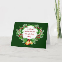 Christmas Wishes Mom Holly Berry Wreath Holiday Card
