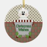 Christmas Wishes Double-Sided Ceramic Round Christmas Ornament