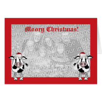Christmas wishes photo cow card template
