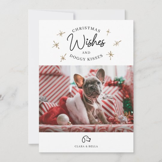 Christmas Wishes Card.Christmas Wishes Puppy Dog Kisses Cute Pet Photo Holiday Card