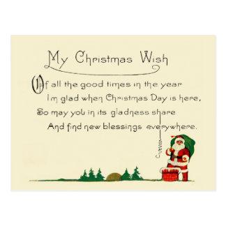 Christmas Wishes Retro Santa Antique Holiday Postcard