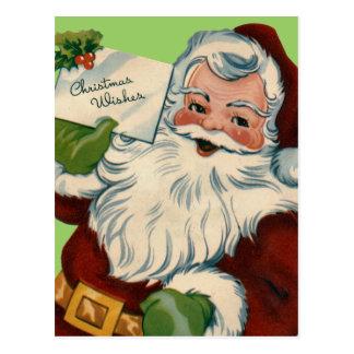 Christmas Wishes Santa Postcard