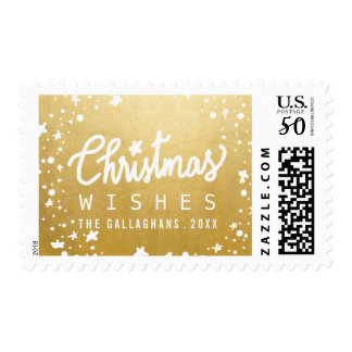 Christmas Wishes Script Stars Faux Gold Foil Postage