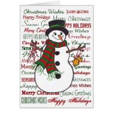 Christmas Wishes - Snowman Greeting Card at Zazzle