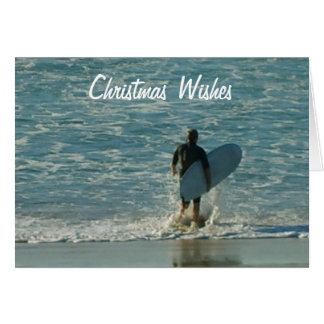 Christmas Wishes (Surfer heading out) Greeting Card