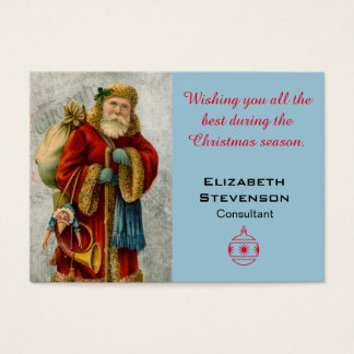 Christmas Wishes Vintage Old World Festive Santa Business Card