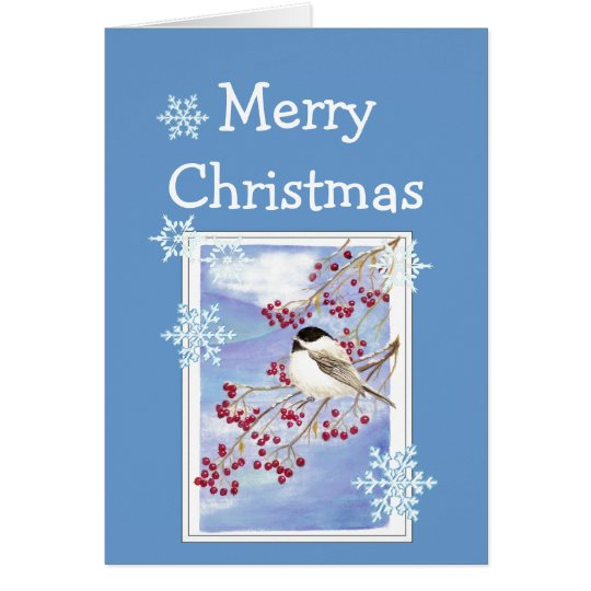 Christmas Wishes Watercolor Chickadee and Berries Card