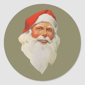 Christmas with a happy Santa Claus with long beard Classic Round Sticker