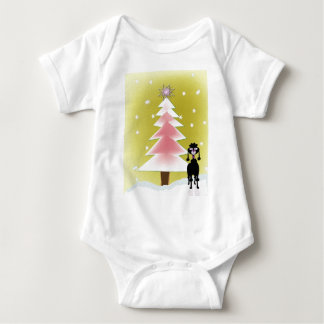 Christmas with a poodle baby bodysuit