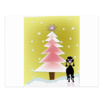 Christmas with a poodle post cards