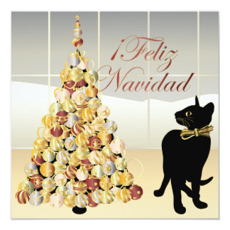 "Christmas with Bella Spanish Card/Invitation 5.25"" Square Invitation Card"