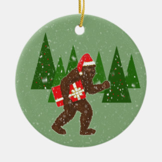 """""""Christmas with Bigfoot"""" Double-Sided Ceramic Round Christmas Ornament"""