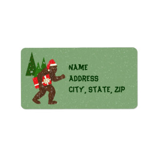 """Christmas with Bigfoot"" Custom Address Label"
