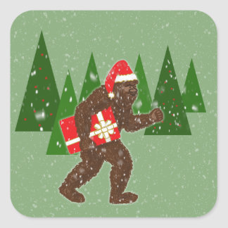 """Christmas with Bigfoot"" Square Sticker"
