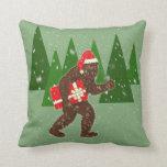 """Christmas with Bigfoot"" Throw Pillows"