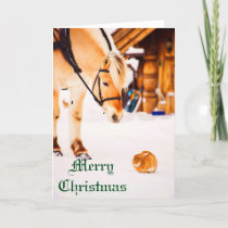 Christmas with farm animals outdoor in snow holiday card