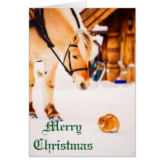 Christmas with farm animals outdoor in snow stationery note card