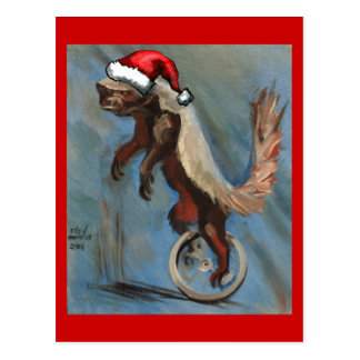 Christmas with Honey Badger Post Card