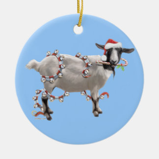 Christmas With Jada The Goat Ceramic Ornament