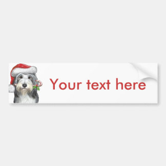 Christmas With Jazz The Bearded Collie Bumper Sticker