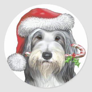 Christmas With Jazz The Bearded Collie Classic Round Sticker