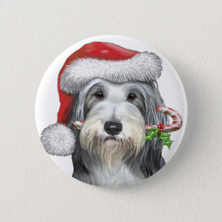 Christmas With Jazz The Bearded Collie Pinback Button