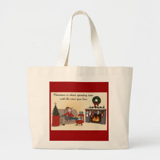 Christmas with Loved Ones Cartoony Canvas Bags