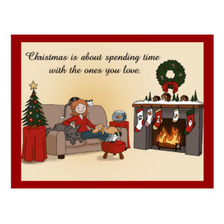 Christmas with Loved Ones Cartoony Postcard
