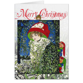 Christmas with mistletoe and elves cards