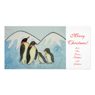 Christmas with Penguin family and snowflakes Card