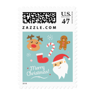 Christmas with Santa, Reindeer, Gingerbread Man Postage