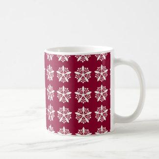 Christmas with snowflakes - red background coffee mug